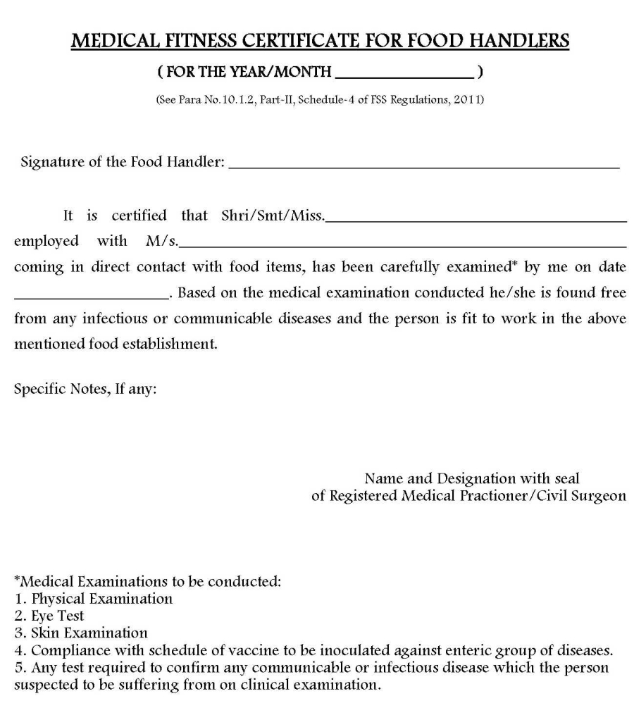 Food handler certification gallery any certificate example ideas medical fitness certificate for food handlers food safety news medical fitness certificate for food handlers food 1betcityfo Image collections