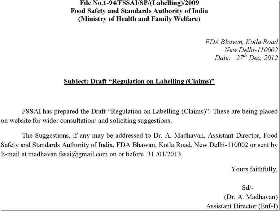 covering letter for draft regulation 1